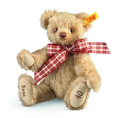 Personalised Steiff Bear - Gift Idea Celebrate a new baby's arrival christening birthday wedding or other special occasion with a Steiff® Bear.Lovingly hand-made by Steiff from the finest natural mohair fully jointed and with hand-stitched details and a snazzy bow each highly collectable teddy bear has its own unique character.For that extra special touch you can have the name of the...