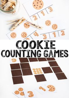 Free printable Cookie counting games, a fun way to work on early numeracy skills at home with the kids