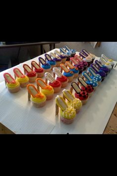 This was for a tea party  High heel shoe cupcakes