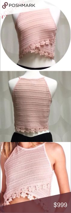 SALE DUSTY ROSE LACE TRIMMED CROP TOP- LARGE Stunning lace trimmed cropped top in Dusty Rose. Perfect for Summer. with your favorite shorts, jeans or skirts. Excellent quality. Regular fit.  Runs true to size. 76% Cotton; 21% Polyester; 3% Spandex. Made in the USA . THIS LISTING IS FOR A LARGE, AND AVAILABLE TO PURCHASE April Spirit Tops Crop Tops