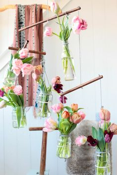 Hanging mobile of tulips