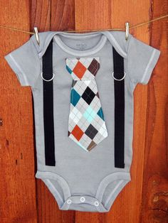 Grey Argyle Baby Boy Tie Bodysuit and Suspender Bodysuit. Fall, Winter, Childrens Holiday Fashion. on Etsy, $23.00