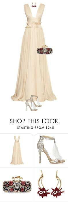 """""""Untitled #3046"""" by xoxomuty ❤ liked on Polyvore featuring Maria Lucia Hohan, Jimmy Choo, Alexander McQueen and Oscar de la Renta"""