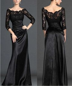 Modest Long Sleeves Formal Evening Prom gowns Sexy Elegent Black Lace Mother of the Bride/Groom party Dresses Wedding Dress