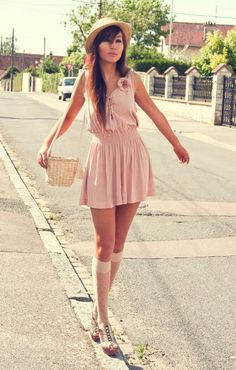 Thin transparent white over knee socks, brown wedge sandals, short clear pink dress