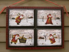 """Boys in the Band"" by Cynthia Erekson.Reflections of the Past Patterns. Four separate panels set into a tray frame.all in one pattern! Christmas Art, Christmas Decorations, Christmas Ornaments, Holiday Decor, Santa Claus Photos, General Crafts, Santa Baby, Tole Painting, Vintage Santas"