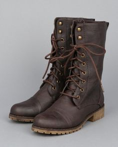 Shoes: Alrisco Nature Breeze Lug-11 Leatherette Lace Up Military Boot - Brown PU [Buy New: $17.90 - $19.90]