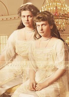The Little Pair in Gold Colours Grand Duchesses Maria and Anastasia Nikolaevna of Russia.