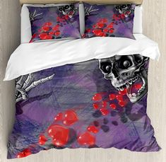 Duvet cover set basketball players dribbling dunking floater skull decor duvet cover set skeleton in love throw out puke of hearts romantic gesture gumiabroncs Image collections