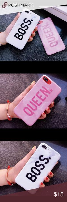 Phone case for iPhone 6plus, 7plus and 8plus. Are you a Boss or Queen???? Mable hardcover phone case with letter BOSS or QUEEN. Pink for Queen and white for Boss Accessories Phone Cases