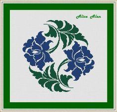 Cross Stitch Pattern Ornamental Flowers Pattern monochrome