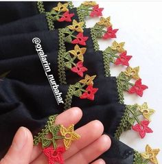Different crochet needlework models for needlework lovers Crochet Flower Tutorial, Crochet Flower Patterns, Baby Knitting Patterns, Crochet Flowers, Hand Embroidery Videos, Creative Embroidery, Crochet Borders, Knitted Shawls, Lace Design