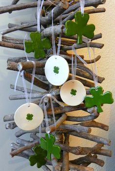 Shamrock Ornaments Lots of Green Lucky Ceramics 3 4 by Ceraminic