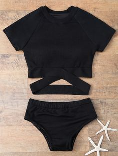 Banded High Neck Bikini - BLACK M
