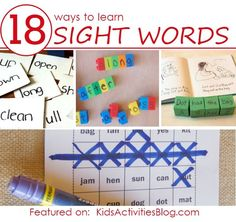 18 ways to learn sight words with your kids. PDFs of dolch words, sight word bingo, instant word lists. Teaching Sight Words, Sight Word Activities, Kids Reading, Teaching Reading, Reading Classes, Learning Tips, Professor, Kindergarten Literacy, Early Literacy