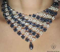 Black-n-white pearl bib necklace