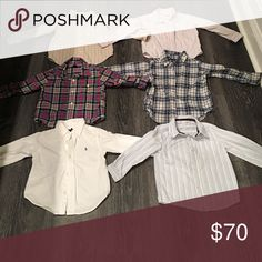 Toddler boys long sleeve dress shirts. The toddler boys 2t dress shirts come in many colors. The brands are Ralph Lauren, Koala Kids, Baby Gap and Kids R Us. Shirts & Tops Button Down Shirts