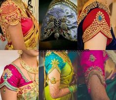 Sleeve ends are how fancy you can make the end of the blouse sleeves. Here are some interesting saree blouse sleeve designs Sleeve ends are how fancy you can make the end of the blouse sleeves. Here are some interesting saree blouse sleeve designs Wedding Saree Blouse Designs, Pattu Saree Blouse Designs, Blouse Designs Silk, Blouse Patterns, Lehenga Blouse, Traditional Blouse Designs, Simple Blouse Designs, Hand Designs, Sleeve Designs