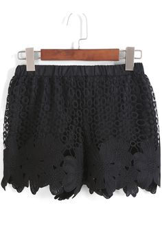 Black Elastic Waist Lace Hollow Shorts. Fashion : Bottoms : Pants Black Elastic Waist Lace Hollow Shorts - See more at: http://spenditonthis.com/listing-40406-black-elastic-waist-lace-hollow-shorts.html#sthash.mcQvSLTj.dpuf