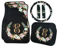 Mint and Gold Floral MIX AND MATCH Monogrammed Car Mats Monogram Car Floor Mats Steering Wheel Cover Seat Belt Covers Custom Car Accessories