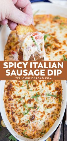Spicy Italian Sausage Dip is creamy and delicious, made with spicy sausage and 3 types of cheese. Its the perfect appetizer for game day or holiday parties. via appetizers Spicy Italian Sausage Dip Holiday Appetizers, Appetizer Dips, Yummy Appetizers, Holiday Parties, Sausage Appetizers, Best Appetizer Recipes, Game Day Appetizers, Italian Food Appetizers, Appetizer Dessert