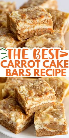 Carrot Cake Bars – Cookie Dough and Oven Mitt Carrot Cake Bars – These carrot cake bars are so moist and delicious! They have a sprinkle of cinnamon and a cheesecake swirl in them. They're the perfect Easter dessert bars. Mini Desserts, Easy Desserts, Easy Delicious Desserts, Easy Dessert Bars, Homemade Desserts, Health Desserts, Baking Recipes, Cookie Recipes, Dessert Recipes