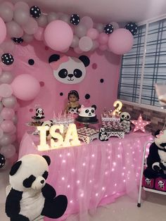 Birthday Party Table Decorations, Birthday Party Tables, Party Themes, Panda Baby Showers, Panda Birthday, Baby L, Ideas Para Fiestas, Baby On The Way, Baby Shower Themes