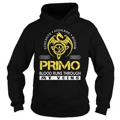Cool PRIMO Blood Runs Through My Veins (Dragon) - Last Name, Surname T-Shirt T shirts
