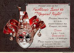Red Masquerade Sweet 16 Invitations - Sweet 16 Magical Night in any colors you wish!