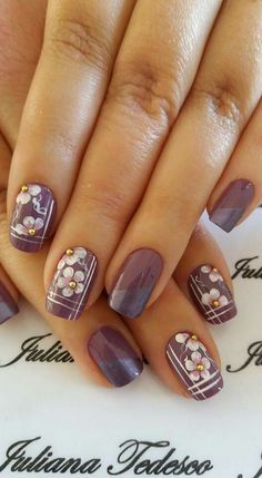 Nails. Purple. White. Flower. Stripe. Design. Cute.