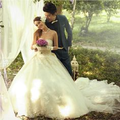 Discount Ivory White Organza Sequin Formal Wedding Dresses Bridal Gowns SKU-118114