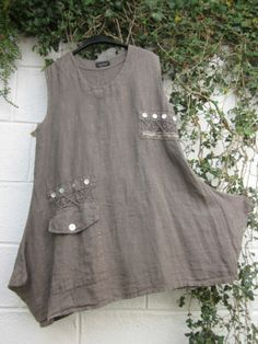 "QUIRKY SARAH SANTOS TUNIC TOP BNWT MOCHA 42"" BUST LAGENLOOK ETHNIC BOHO"