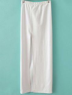 White Elastic Split Long Skirt US$25.11