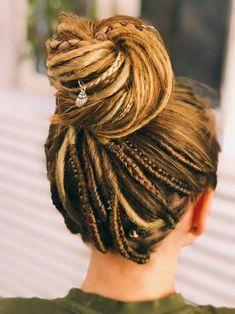 Dread Braids, Dread Hairstyles, Braided Hairstyles, Updo Hairstyle, Braided Updo, Wedding Hairstyles, Extension Dreadlocks, White Girl Braids, Partial Dreads