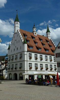 Biberach, Neues Rathaus, der spätgotische Backsteinbau stammt von 1497-1503, Aug.2012