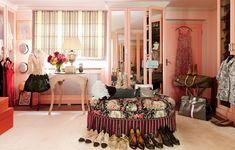 Striped Madeleine Castaing blinds shade Sieber's pink dressing room.