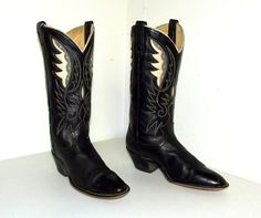 Black Acme brand Cowboy boots by honeyblossomstudio, $49.99