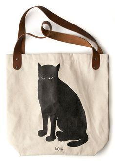 {Noir Cat Sunday Tote} by FluffyCo, via ModCloth