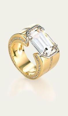 Tamsen Z by Ann Ziff ~ Emerald-Cut Diamond and Diamond Pavé Ring in Platinum and 18k Gold