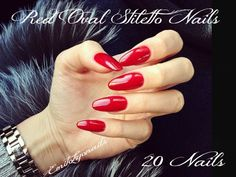 20x Oval Nails,Red nails,Red Stiletto,Hand Painted Nails,UV GEL+Free Glue