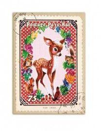 ~Prentenkaart met hertje en lieve bosdiertjes- van Ikke~