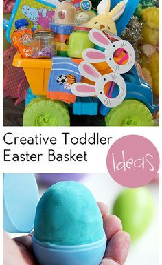 Creative Toddler Easter Basket Ideas. Ideas for toddler's Easter basket, sippy cups, toys, learning games, and more ideas for toddlers or small kids.