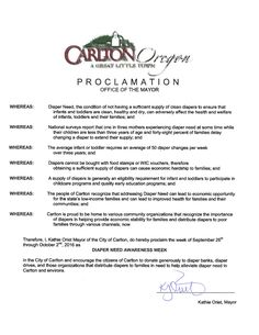 CARLTON, OR - Mayoral proclamation recognizing Diaper Need Awareness Week (Sep. 26-Oct. 2, 2016) #Diaperneed diaperneed.org