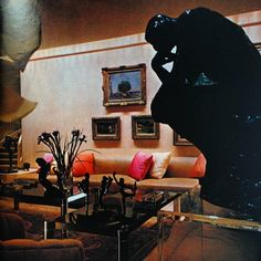 'The Manhattan living room of Mr and Mrs Gerald Cantor, loomed over by Rodin's Thinker (paintings by Utrillo and Kandinsky). Interior design by Bebe Winkler and photographed by Jaime Ardiles-Arce for Architectural Digest, December < v/ Laura McLaws Helms Rodin The Thinker, Dream Apartment, Architectural Digest, Sweet Home, Kandinsky, Living Room, Interior Design, Architecture, Manhattan