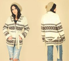 ViNtAgE 60s Rare Tribal Wrap Sweater Hand Knit by hellhoundvintage, $98.00