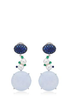 One-Of-A-Kind, Abellan New York'S Blue Chalcedony And Sapphire Drop Earrings by Abellan New York for Preorder on Moda Operandi