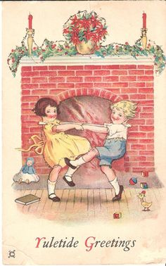 Vintage Christmas card graphic of children dancing by Yuletide fireplace. Vintage Christmas Wedding, Old Christmas, Old Fashioned Christmas, Vintage Christmas Cards, Retro Christmas, Christmas Greeting Cards, Christmas Pictures, Christmas Greetings, Christmas Postcards