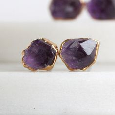 AMETHYST STUDS - 24K GP // 24k gold plated amethyst stones with 14k gold-filled…