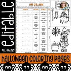About this resource : The perfect, completely customizable Halloween resource for any subject and any grade level!This halloween themed resource includes two coloring pages that are perfect for October! One assesses the distributive property and the second assesses solving two and three step equations.