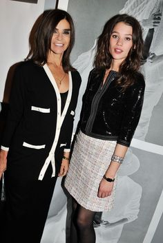 Carine Roitfeld and Astrid Bergès-Frisbey at the Chanel Black Jacket Expo in Paris